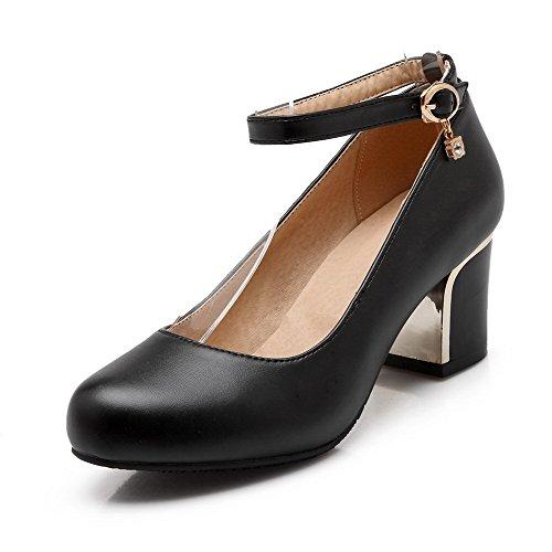 Pumput Solki Kiinteä kengät Heels Voguezone009 Kierroksella Kitten Naisten Toe Pehmeä Suljettuun Musta Materiaali Zqxp4gvSwx
