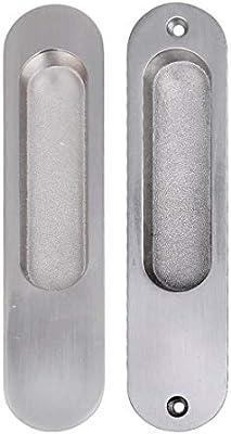 Tirador Empotrado for Puerta de Armario Tirador for cajón de aleación de Zinc Tirador for Puerta Oculta asa de Granero Ovalada de Oro Simple 171 mm x 37 mm (Color : Silver):