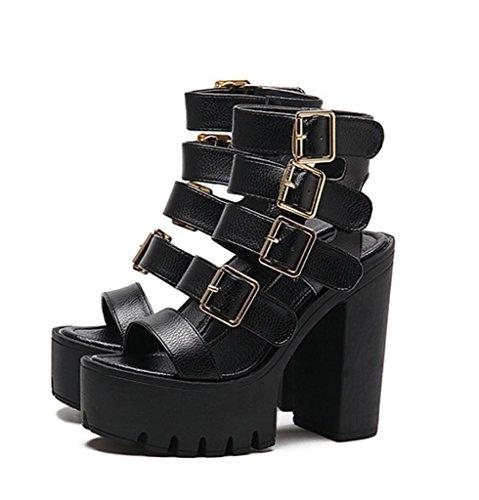 HETAO Persönlichkeit Womens Fashion Hollow High Heel Sandalen Schuhe Größe Thick Bottom Wasserdichte Plattform Schwarz Damen Ankle Strap Plattform Chunky Party Geschenk Des Mädchens Black