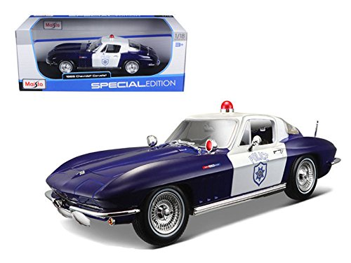 Maisto New 1:18 W/B Special Edition - Blue 1965 Chevrolet Corvette Police Diecast Model Car