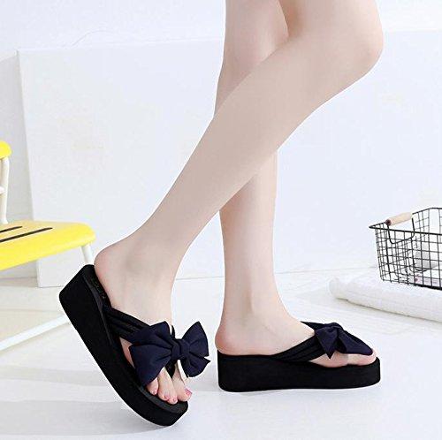 pengweiSandalias de verano de las se?oras tal¨®n de la cuesta Flip Zapatillas de playa del pie del clip de la manera 2