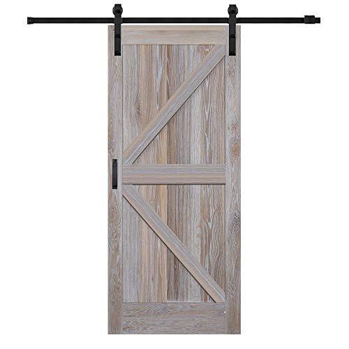 National Door Company, Barn Door Kit Door & Hardware, White Oak, 36″ x 84″, K-Plank, No Glass Collection, Universal
