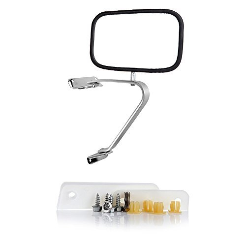 ECCPP Towing Mirror Replacement fit for 80-96 Ford F-Series F150 F250 F350 Bronco Chrome Manual Truck SUV Pickup Mirror Half (Pickup Chrome Manual Mirror)