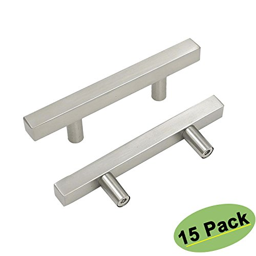 3inch Dining Room Kitchen Cabinet Knobs Modern Square Drawer Pulls Brushed Nickel - Homidy HDJ22BSS Furniture Drawer Pulls Office Cabinet Hardware Stainless Steel 15 Pack Dining Room Square Cabinet
