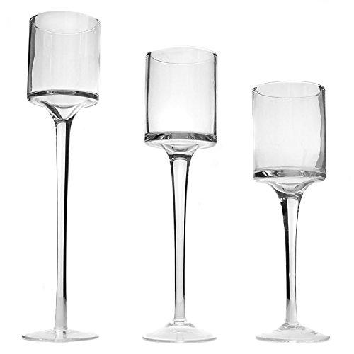 Maison & White | Juego de 3 portavelas | Diseno elegante alto de vidrio fino |
