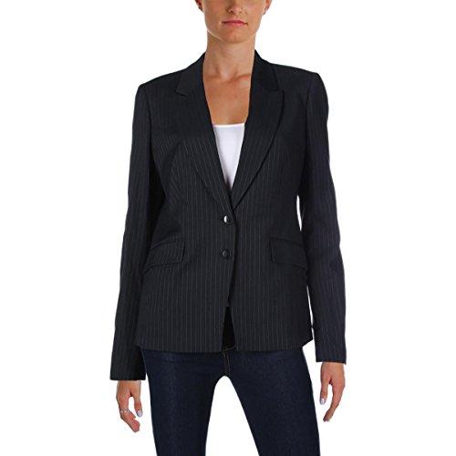 Hugo Boss BOSS Womens Jakinala Wool Blend Pinstripe Two-Button Blazer Navy 10 (Navy Blazer Pinstripe)