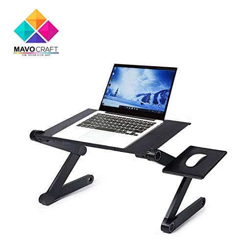 Adjustable Laptop Riser Stand - Portable & Vented Laptop Desk/Stand/Table for MacBook, Notebook & Ultrabook - Lightweight &Ergonomic Tray for Bed, Lap & TV - with 2 USB Cooling Fans & Mouse Pad