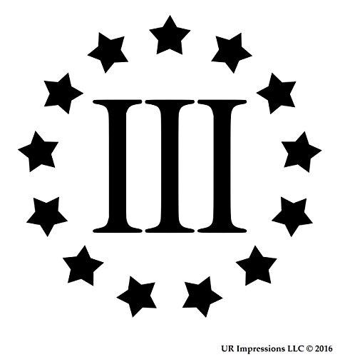 UR Impressions Blk Three Percenter 13 Star Decal Vinyl Sticker Graphics Car Truck SUV Van Wall Window Laptop|Black|5.5 Inch|URI177-B ()