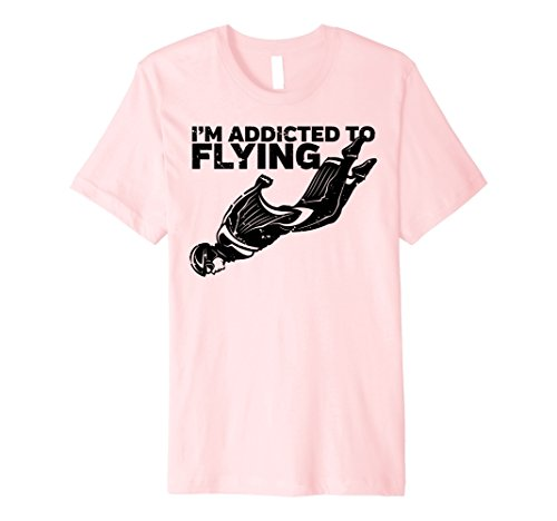 Wing Man Flight Suit (Mens I'm Addicted to Flying Wingsuit Skydiving T-shirt Small Pink)