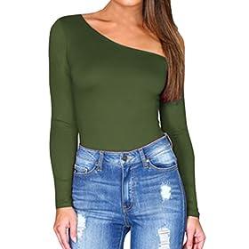 - 41V2Ce1uc5L - E.JAN1ST Women's Long Sleeve Bodysuit High Low Neck One Side Off Shoulder Leotard