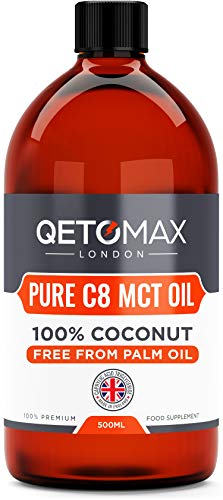MCT Oil, Pure C8 With Zero Palm Oil, 100% Coconut 500ml by Qetomax | 99.8% C8, Ideal for Bulletproof Coffee, Keto Diet…