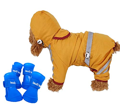 Small Dog Raincoat&Rain Boots Set | Hooded & Four-Legs Pet Dog Raincoat with Reflective Strips -...
