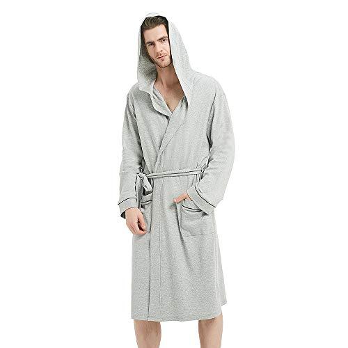 U2SKIIN Mens Hooded Bathrobe, Lightweight Bathrobe with Hood, Plush Cotton Spa Robe for -