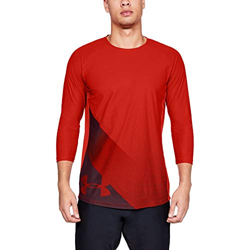 Under Armour Men's Threadborne Vanish 3/4 sleeve, Radio Red (890)/Dark Maroon, Medium