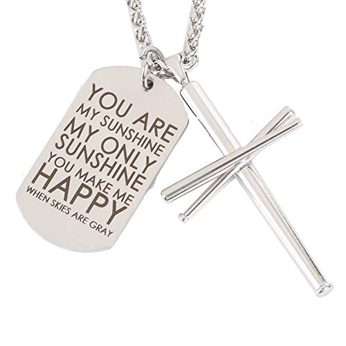 AB Max Cross Necklace Baseball Bats - Stainless Steel Athletes Fashion Pendant Sports Necklaces Gifts for Men Women Teen Boys Girls Color Steel