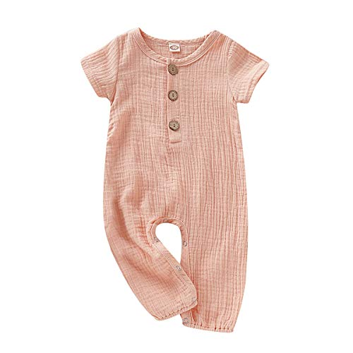 (Happy Town One Piece Outfits Baby Solid Color Rompers with Button Kids Short Sleeve Playsuit Jumpsuits Cotton Clothing Pink )