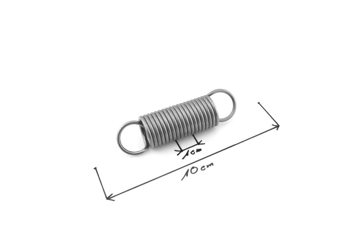 Spring Feder Stahlfeder, Edelstahl Zugfeder 2 mm x 18 mm x 148 mm