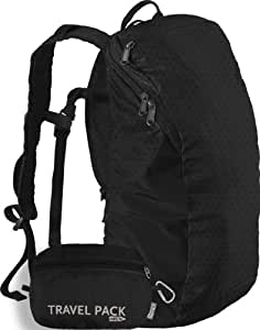 ChicoBag Reusable Travel Pack rePETe Shopping Tote (Black, Bag Body 17.5-Inch x 9.5-Inch, Pouch 6-Inch x 8-Inch)