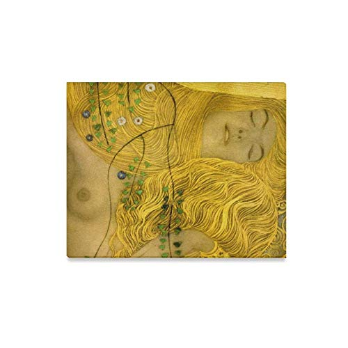 (InterestPrint Canvas Wall Art Detail of Water Serpents by Gustav Klimt Abstract Painting Reproduction Wood Framed Canvas Print Modern Artwork for Home Decoration Wall Decor,20 x 16 Inches)