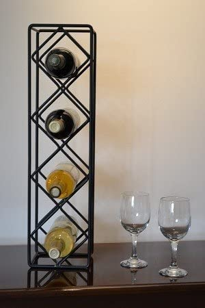 J J Wire Diamond 4-Bottle Wine Rack