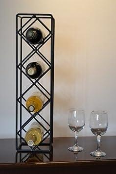 J J Wire Diamond 4-Bottle Wine Rack