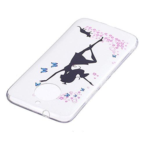 Funda Moto G5S , (5.2 Pulgadas) Suave gel sillicona TPU Luminoso Carcasa para Moto G5S [Brillar en la Oscuridad] E-Lush Flexible de Ligero Fluorescente Protectiva Tapa Caja Choque Absorción y Resisten Chica de ballet