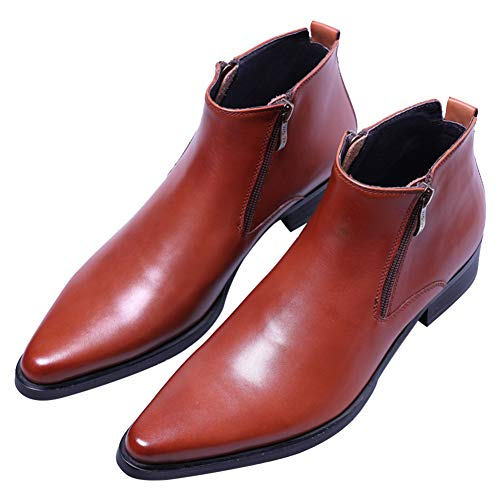 (Dress Boots Genuine Leather Ankle Dress Fashion Pointed Toe Zipper for Mens Brown 8.5 M US)