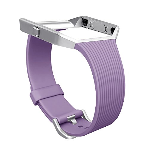 For Fitbit Blaze Slim Bands with Frame, GHIJKL TPU Replacement Sport Strap with Silver Frame for Fitbit Blaze Smart Fitness Watch, Large Small, - Frame Violet