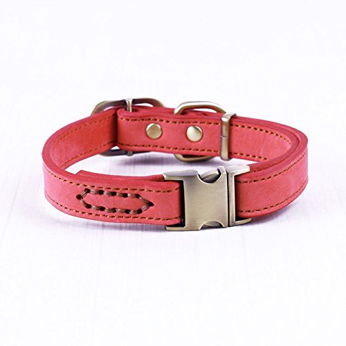 Heavy Duty Tough Bark (Neonr Grind Arenaceous Leather Pet Collars Genuine Cowhide Leather Material Zinc Alloy Buckle and Generous Fashion for Small and Medium Dog Collar Personalized Breakaway.(Red))