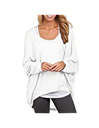 BIUBIONG Women's Casual Oversize Long Batwing Sleeve Baggy Shirt Pullover Blouse Tops