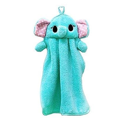 Niños toalla de mano suave tela de peluche Lovely Cartoon Animal para colgar limpiador baño de
