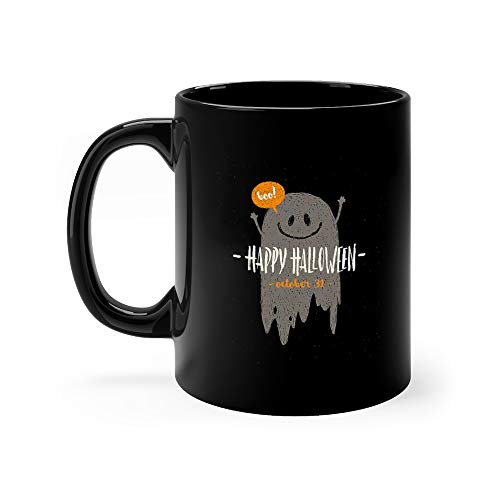Halloween With Hand Drawn Ghost And Greeting Quotes Coffee Mug Ceramic 11 Oz]()