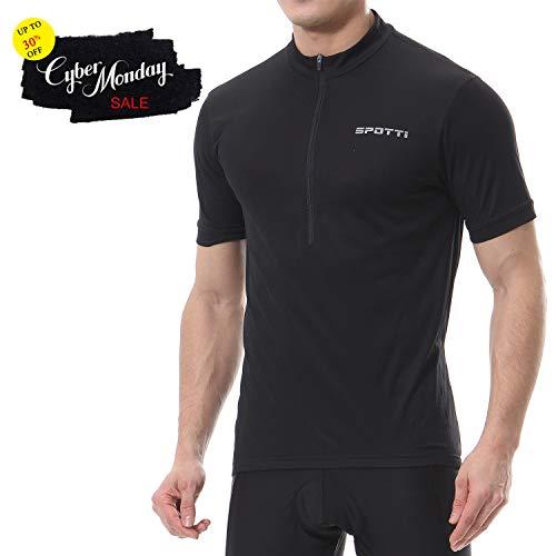 Spotti Basics Mens Short Sleeve Cycling Jersey - Bike Biking Shirt (Black, Chest 40-42 - Large)