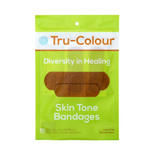 Tru-Colour Skin Tone Bandages: Olive-Moderate Brown Single Pack (30-Count; Green Bag)
