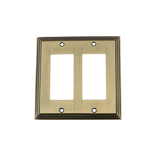 Nostalgic Warehouse 719738 Deco Switch Plate with Double Rocker, Antique Brass