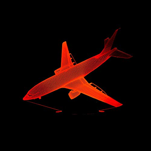 HIOJDWA Night Light Creative Landing Aircraft Desk Lamp USB Led Touch 3D Lamp 7 Colorful 3D Night Light Table Lamps