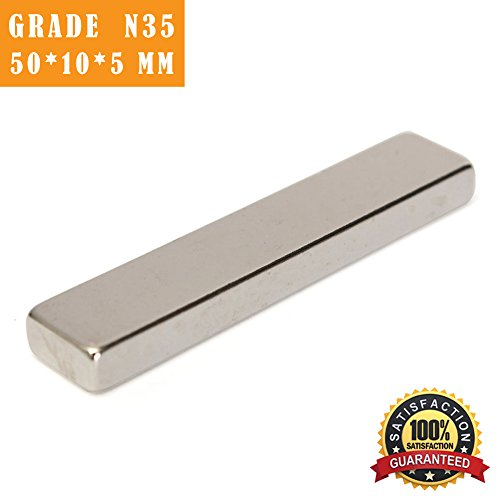 VTURE 2PCS N35 - 60mm x 10mm x 5mm Super Strong Neodymium Magnets (5 Rectangle Magnet)