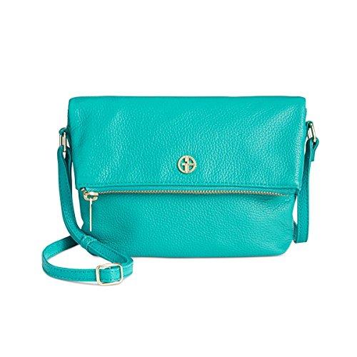 Giani Bernini Womens Pebbled Leather Crossbody Handbag Green Small from Giani Bernini