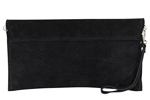 AMBRA Moda Damen Wildleder Clutch Handtasche veloursleder Tasche Handschlaufe WL811 Schwarz RauzR