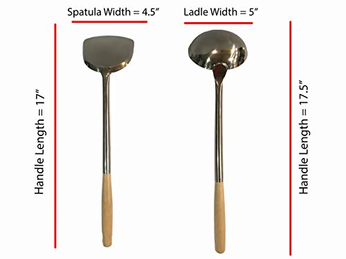Wok Utensils Set ANCHOR 1 Wok Spatula & 1 Wok Ladle Set Large Size L17.5' x 5'...