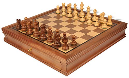 Deluxe Old Club Staunton Chess Set Acacia & Boxwood Pieces with Walnut Chess Case - 3.25