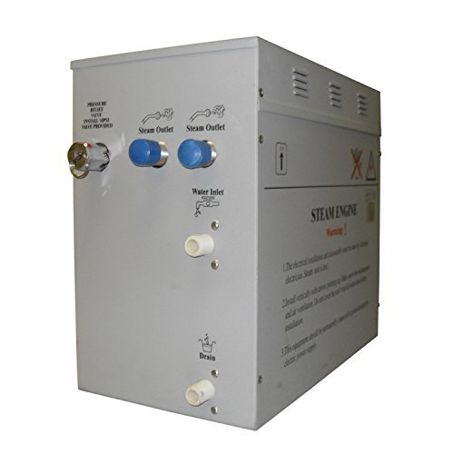 superior 12kw self draining steam bath generator with waterproof programmable controls and 2 chrome steam outlets - Steam Shower Generator