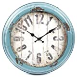 Cheap Antique Blue Distressed Metal Wall Clock