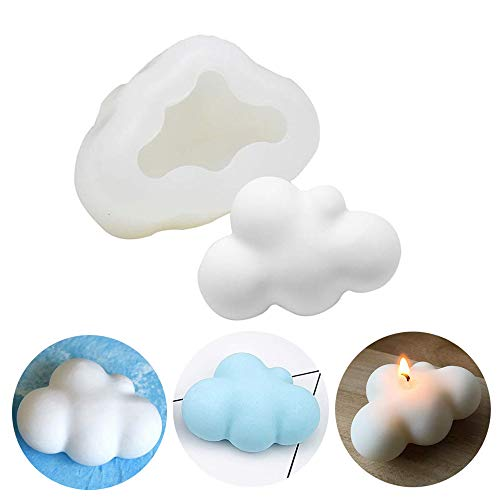 MoldFun 3D Cloud Silicone Mold for Fondant, Chocolate, Candy, Candle, Soap, Bath Bomb, Lotion Bar, Plaster of Paris (White/Pink)