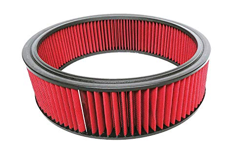 Cover Cleaner Air Element - A-Team Performance Air Filter Element Air Cleaner High Flow Replacement Washable and Reusable Round Cotton Fiber Compatible with Buick Chevrolet GMC Ford Mopar Oldsmobile Pontiac Red 14