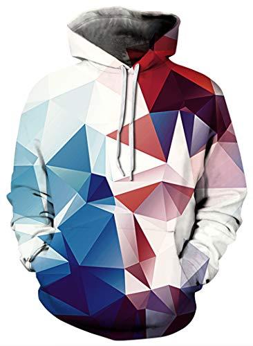 - BarbedRose Men's Digital Print Sweatshirts Hooded Top Galaxy Pattern Hoodies,Colored Squares,XXL