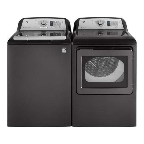 """GE Top Load Speed Wash GTW685BPLDG 27″"""" Washer with Front Load GTD65EBPLDG 27″"""" Electric Dryer Laundry Pair in Gray"""