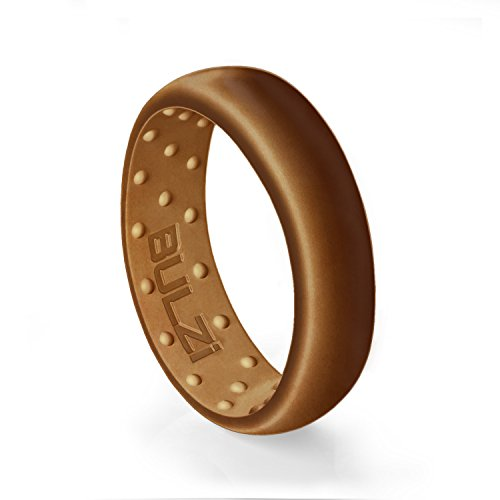 BULZi - Massaging Comfort Fit Silicone Wedding Ring - #1 Most Comfortable Men's and Women's Wedding Band - Round Edges with Flexible Domed Design Work Safety (Copper, Size 10 - ( 6mm Width Band )) (Copper Wedding Band)
