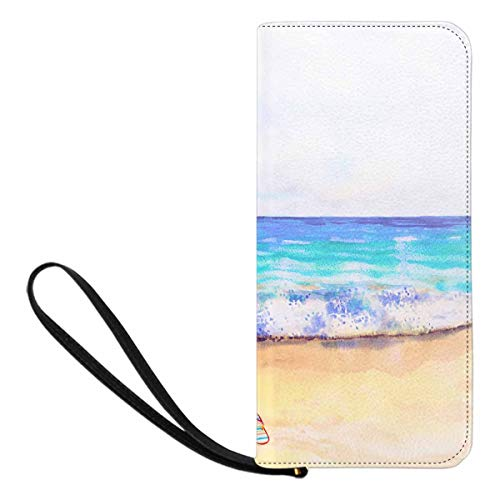 InterestPrint Women's Olorful of Sea View Beach Wave and Accessories Umbrella Shoes Shell Summer Holiday Clutch Wallet with Card Holder Cash Pocket Wrist Strap from INTERESTPRINT