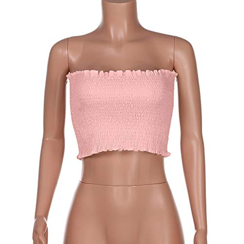 Women Bandeau Tube Top Sleeveless Stretchy Crop Top Strapless Basic Bandeau Tube Pleated -6 colors